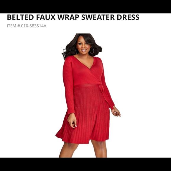 Ashley Stewart Dresses Belted Faux Sweater Dress 1820w Poshmark